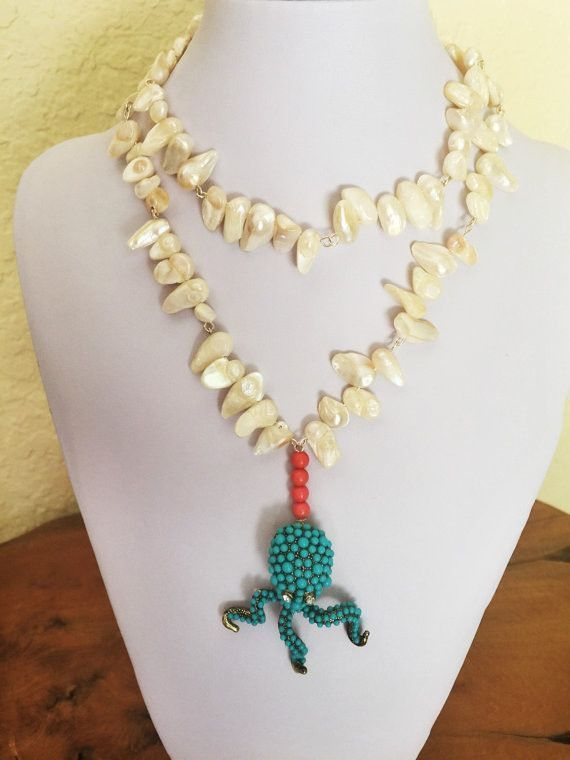 Octopus Fresh Water Pearls & Coral Beads Necklace