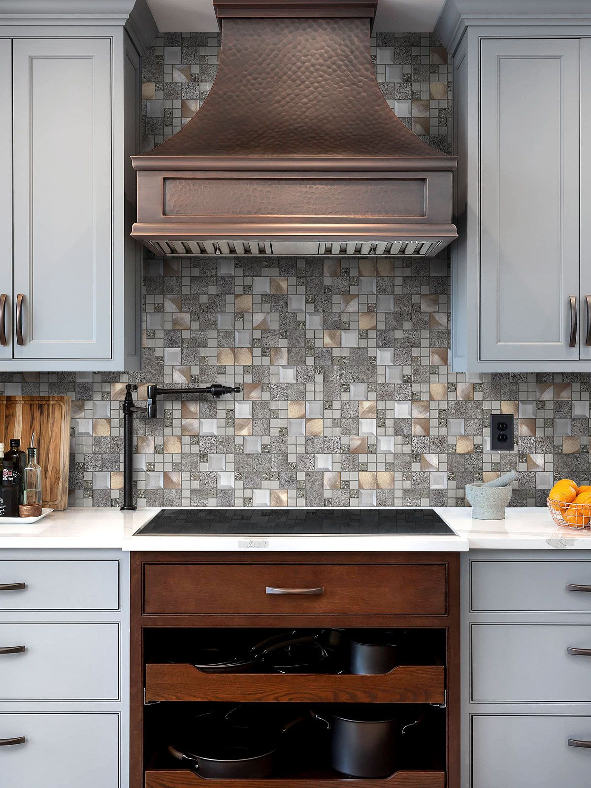 Grey And Copper Kitchen Wall Tiles