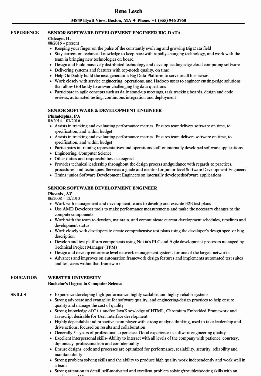 Senior software Engineer Resume Examples Inspirational