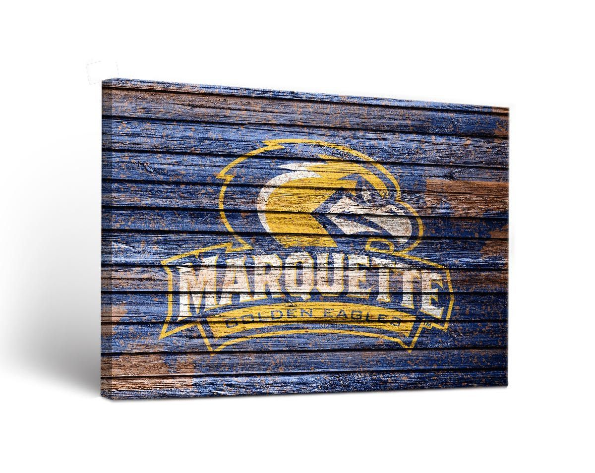 Marquette Golden Eagles Weathered Wood Canvas Wall Art Print Rectangle