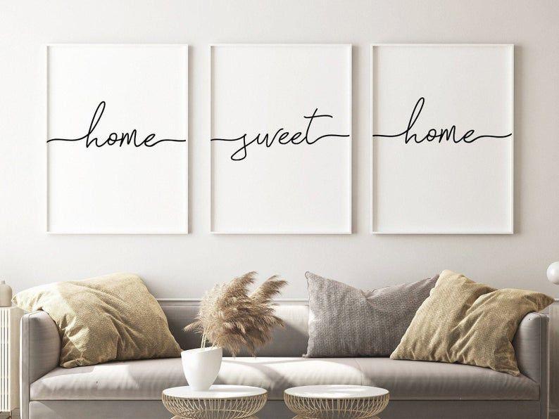 Home Sweet Home Print Wall Art Set Of 3wall Decor Living Room Etsy In 2021 Wall Decor Living Room Modern Living Wall Decor Wall Decor Living Room