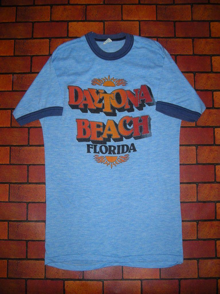 70 S Daytona Beach Ringer T Shirts