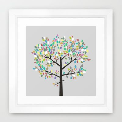 Tree Graphic 2 Colorful Framed Art Print by Mareike Böhmer ...