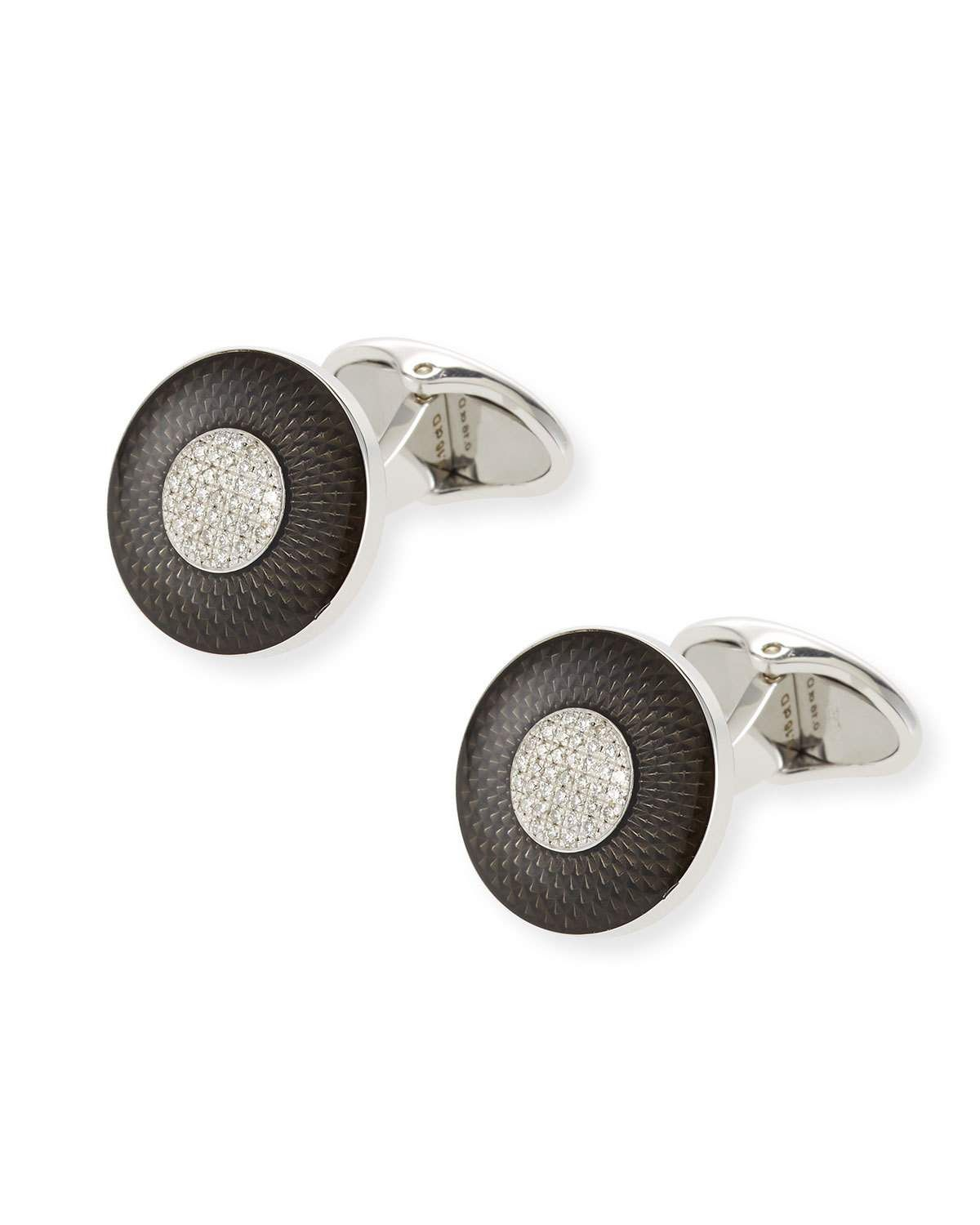 18f28d8f87b0 DUNHILL ENGINE-TURN SILVER/ENAMEL CUFF LINKS WITH DIAMONDS. #dunhill ...