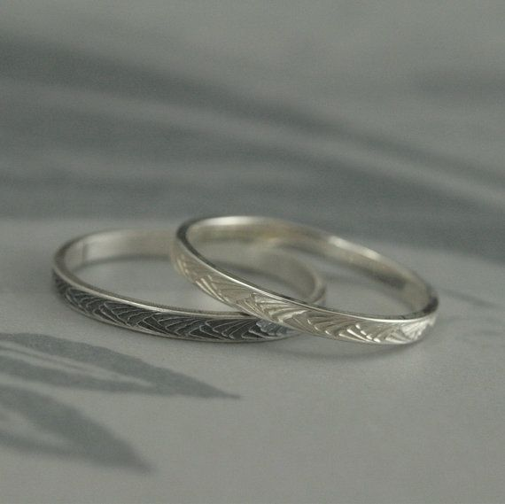 Silver Stacking Ring Thin Band Patterned Textured