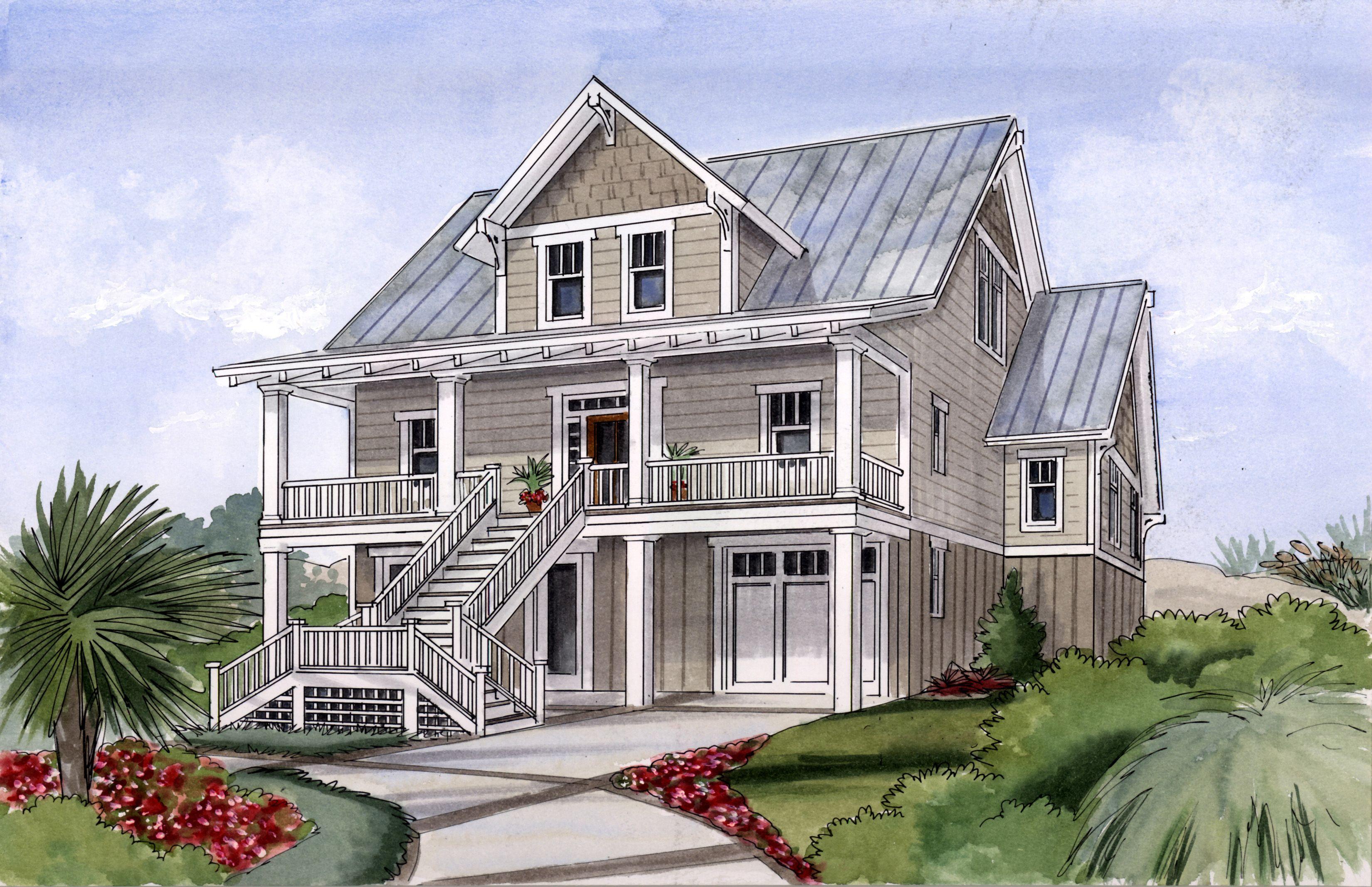 Plan 15034nc Beach House Plan For Narrow Lot Coastal House Plans Beach House Decor Beach Cottage Style