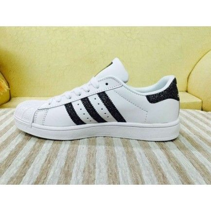 be66c21b5e4d53 Adidas Superstar Leather White Glitter Black Trainers Shoes ...