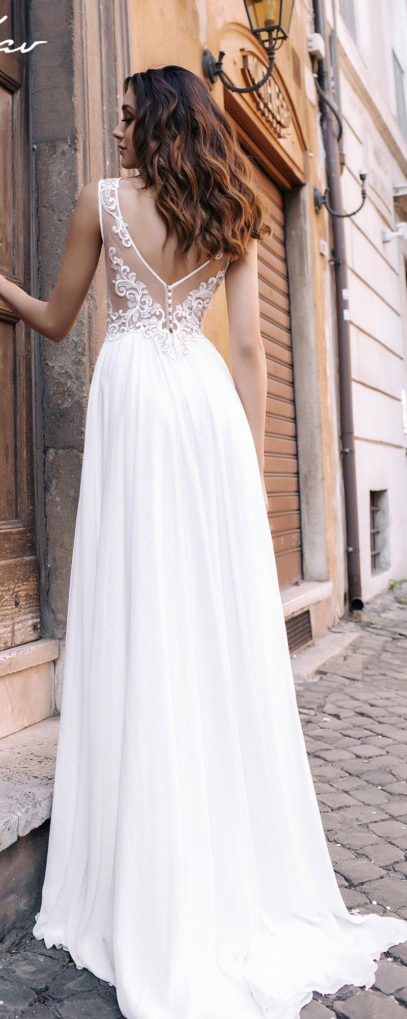 5761df327dc1 Sexy White Chiffon Deep V-neck Elegant Beach Wedding Dresses POLA  weddings   weddingdresses  dresses  fashion  bridaldresses  weddingideas