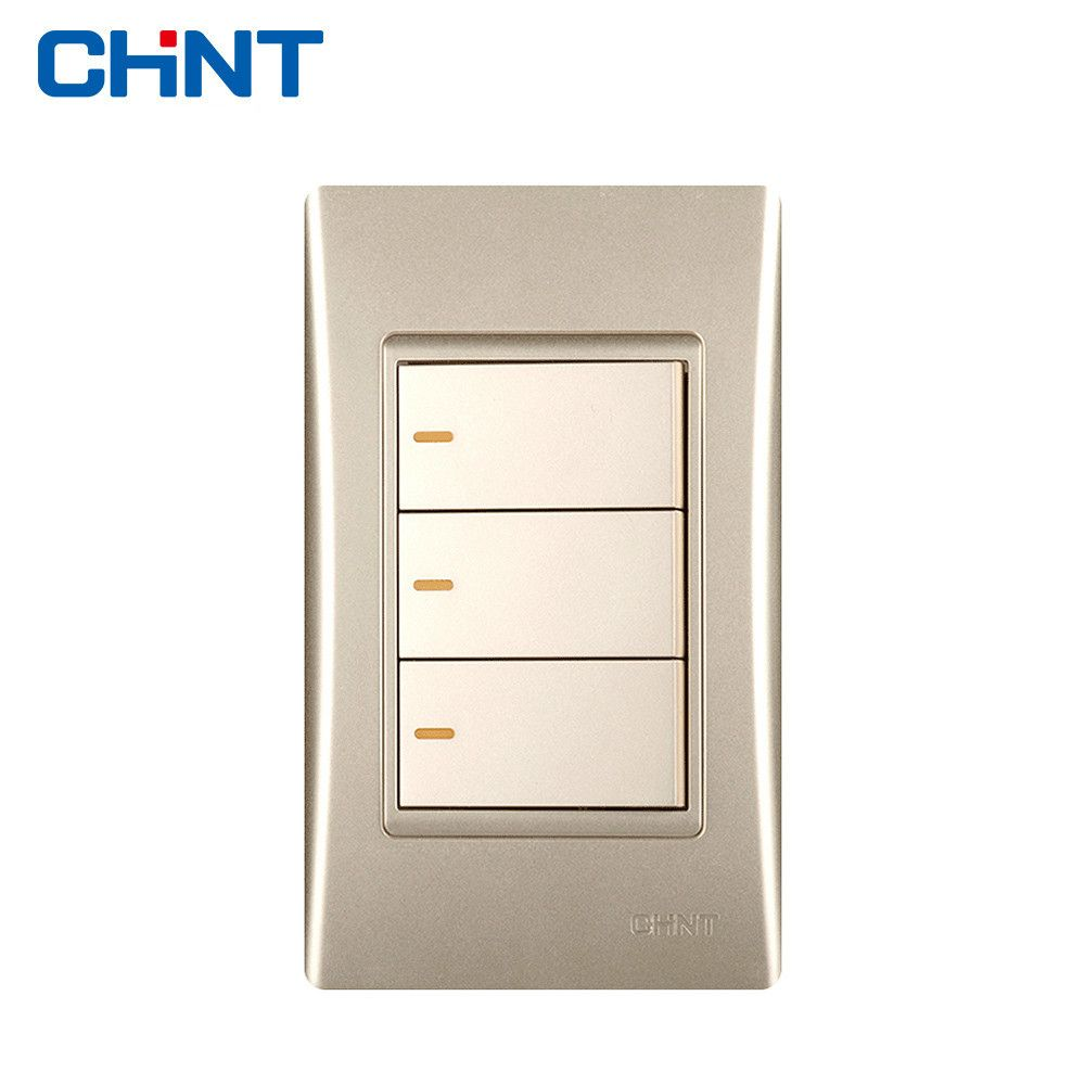 Chint Electric 120 Type New9l Electrical Light Switches Wall Switch Socket Golden Three Gang Two Way Electric Lighter Lights Light Switch