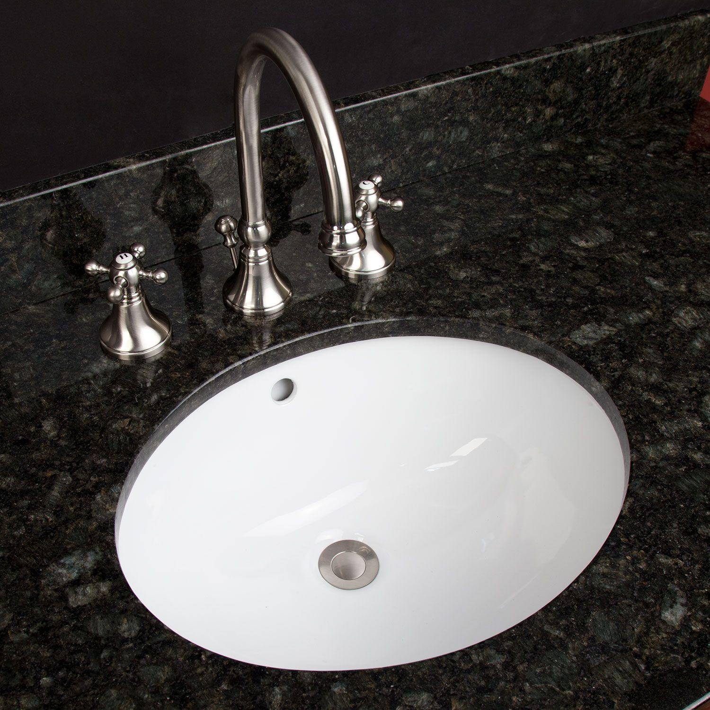 18 Oval Porcelain Undermount Bathroom Sink Biscuit