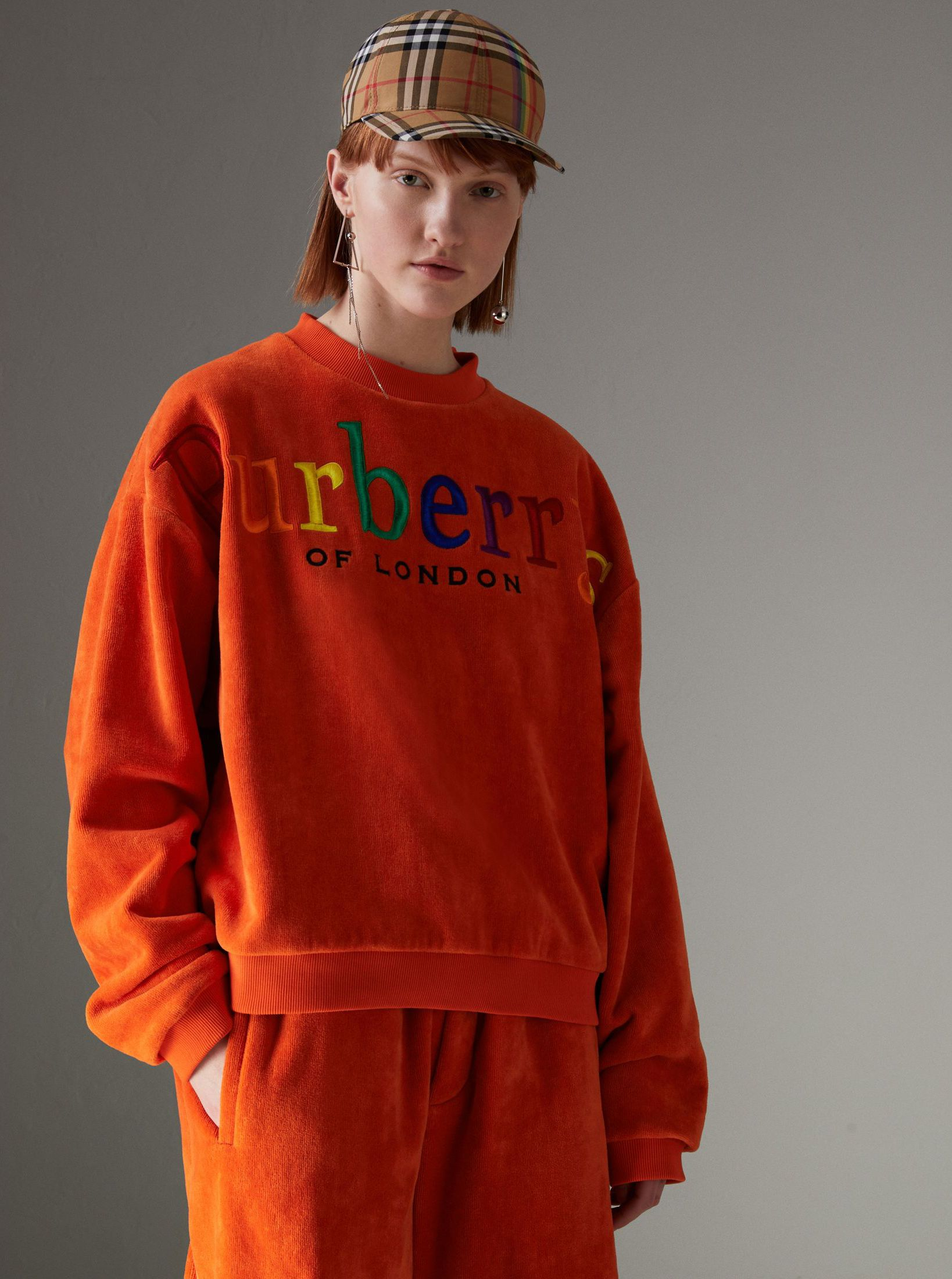 Archive Logo Towelling Sweatshirt by  Burberry - a sports classic in  velvety towelling updated with  Burberrys  embroidery in a rainbow of  colours 54d7dbefd8