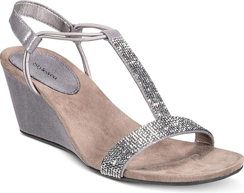 Style Co Women S Shoes In Gunmetal Gray Color Style Co Mulan 2 Embellished Evening Wedge Sandals Created F Sandal Fashion Shoes Women Heels Wedge Sandals