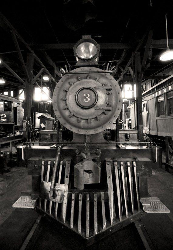 Black and White Steam Train Photo, Railroad Decor, Black & White Train Print, Industrial Home Decor