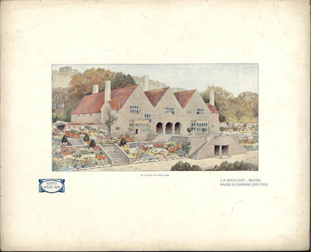 JM Baillie Scott Bedford UK Art Nouveau 1907 Lovely Architecture Color Print