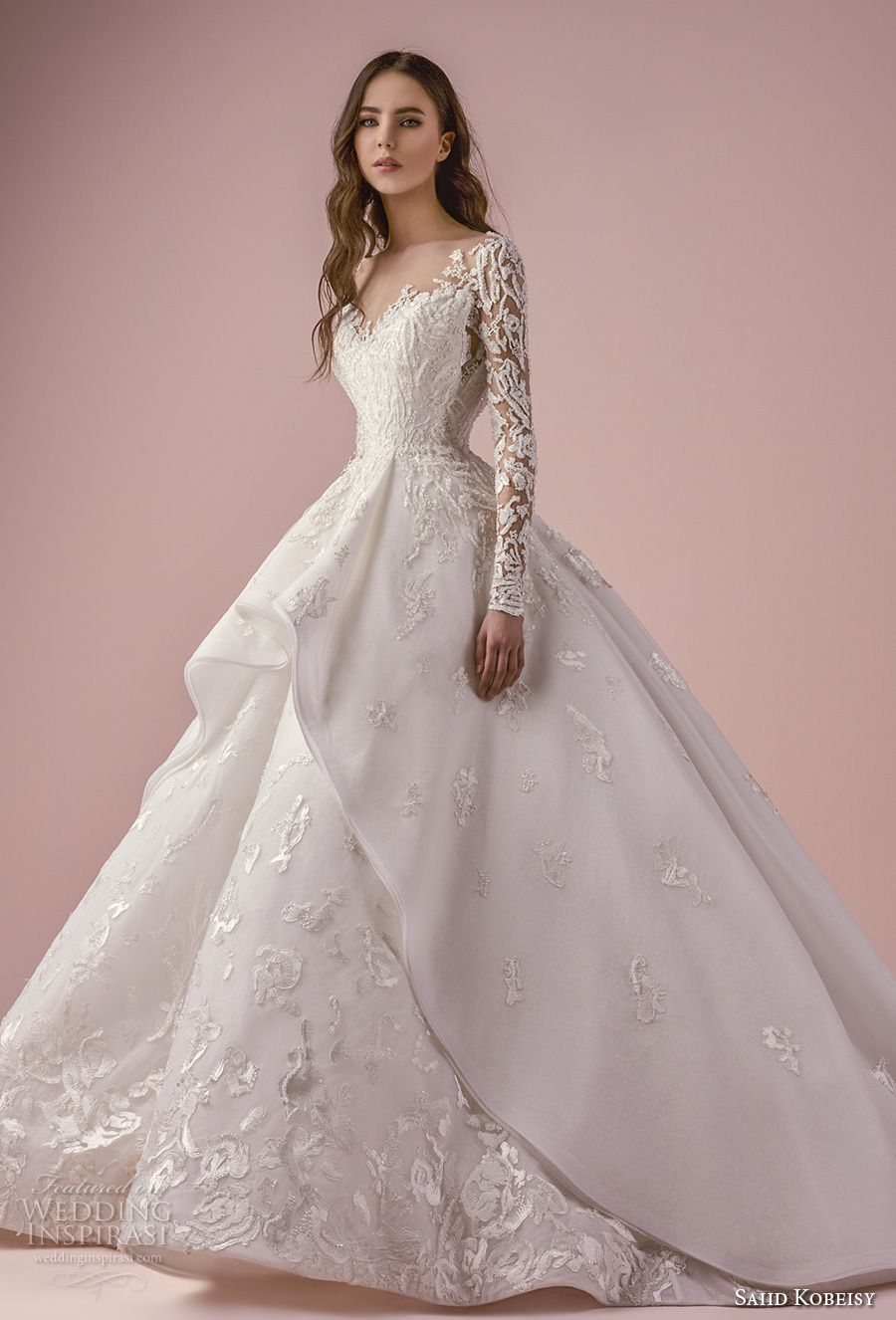 748ee7461dd1 saiid kobeisy 2018 bridal long sleeves v neck heavily embellished bodice  romantic princess layered skirt ball gown wedding dress chapel train (3265)  mv ...
