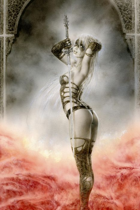 LUZ - THE CHALLENGE by Luis Royo http://www.laberintogris.com/en/1014-luz-the-challenge-3.html Luz is ready for combat. Everything about her is tempting to let your guard down and make a mistake, her torn clothes, makeup that emphasizes eyes, sensual posture and careless handling of the ancestral sword Malefic.