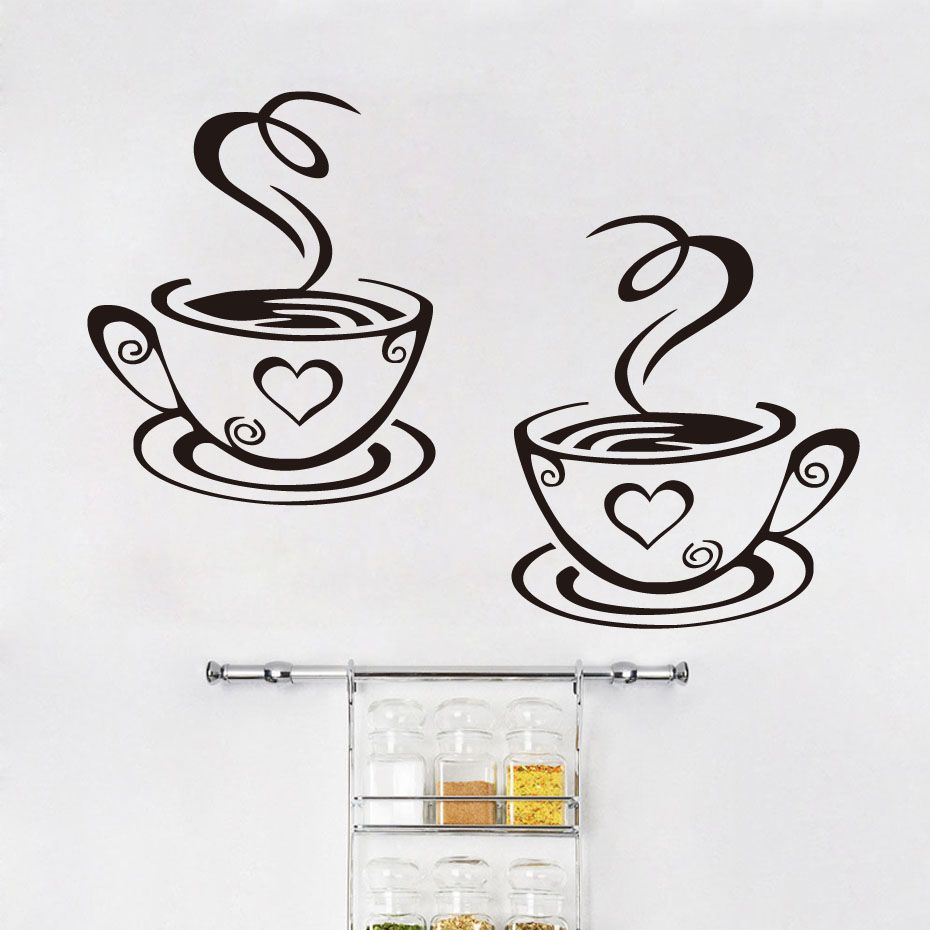 Dctop two cups of coffee vinyl art wall stickers home decor dctop two cups of coffee vinyl art wall stickers home decor creative design wall decals diy amipublicfo Image collections