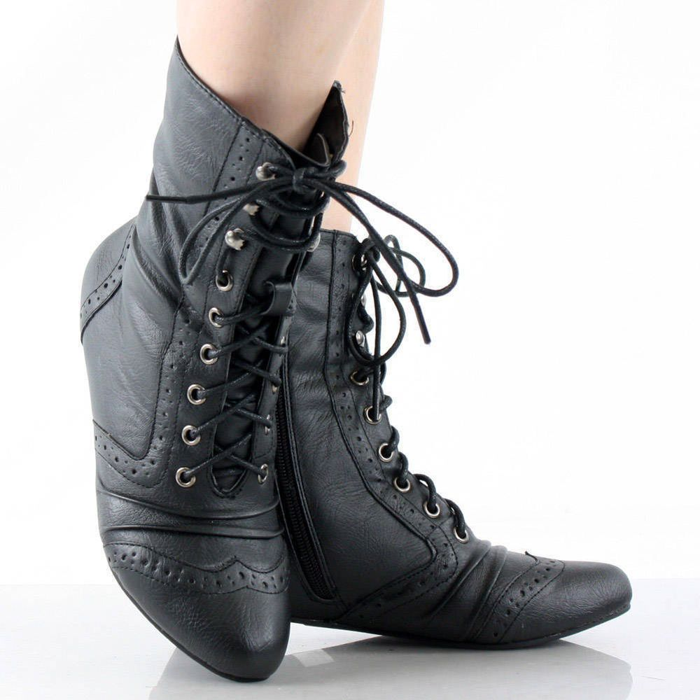 Wonderful WOMENS BLACK LADIES LACE UP KNIT CUFF FLAT LEATHER STYLE ANKLE BOOTS SIZE 3-8