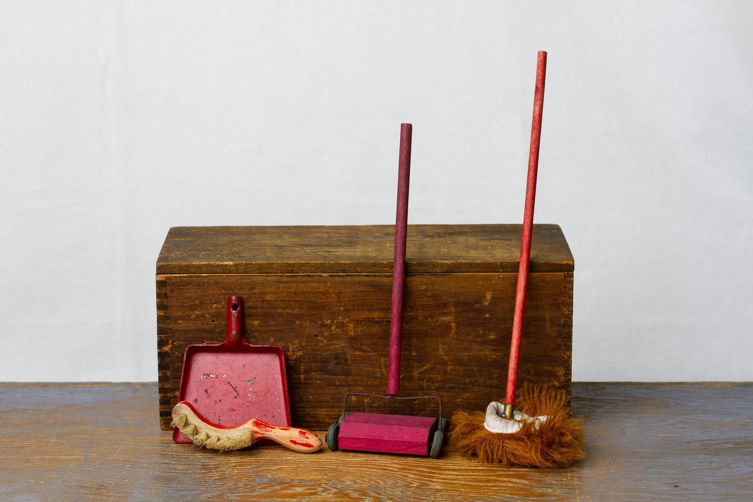 Vintage Dollhouse Larger Scale Collection of Cleaning Supplies - Dust Pan & Broom, Carpet Sweeper, Mop - Miniature Doll Accessories