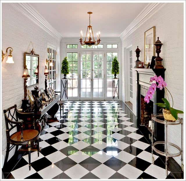 Black And White Flooring Always Makes For A Grand Entrance This
