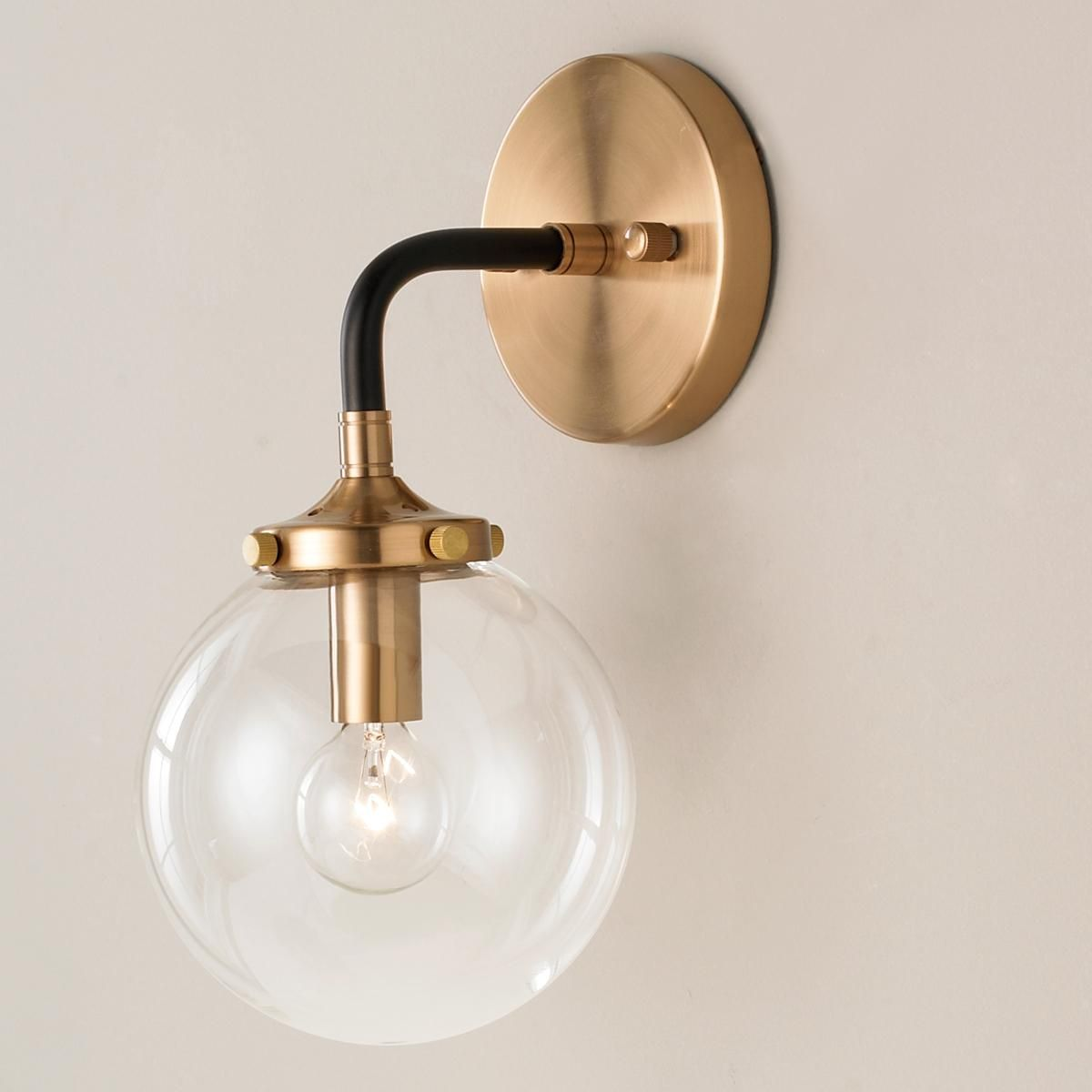Mixed Metal Globe Sconce Globe Sconce Modern Sconces Mid