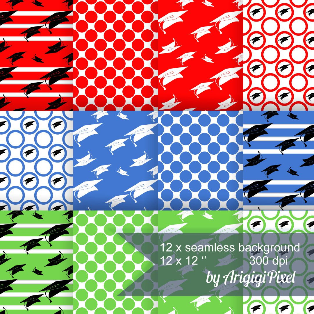 Scrapbook paper etsy - Graduation Digital Background Collage Sheet Set Of 12 Printable Scrapbooking Paper Red Blue Green Download