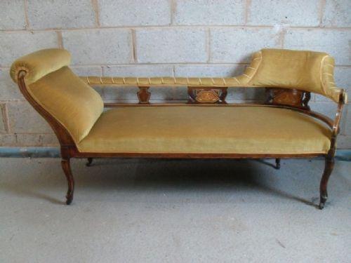 Lovely Edwardian Mahogany inlaid chaise longue sofa : edwardian chaise longue - Sectionals, Sofas & Couches