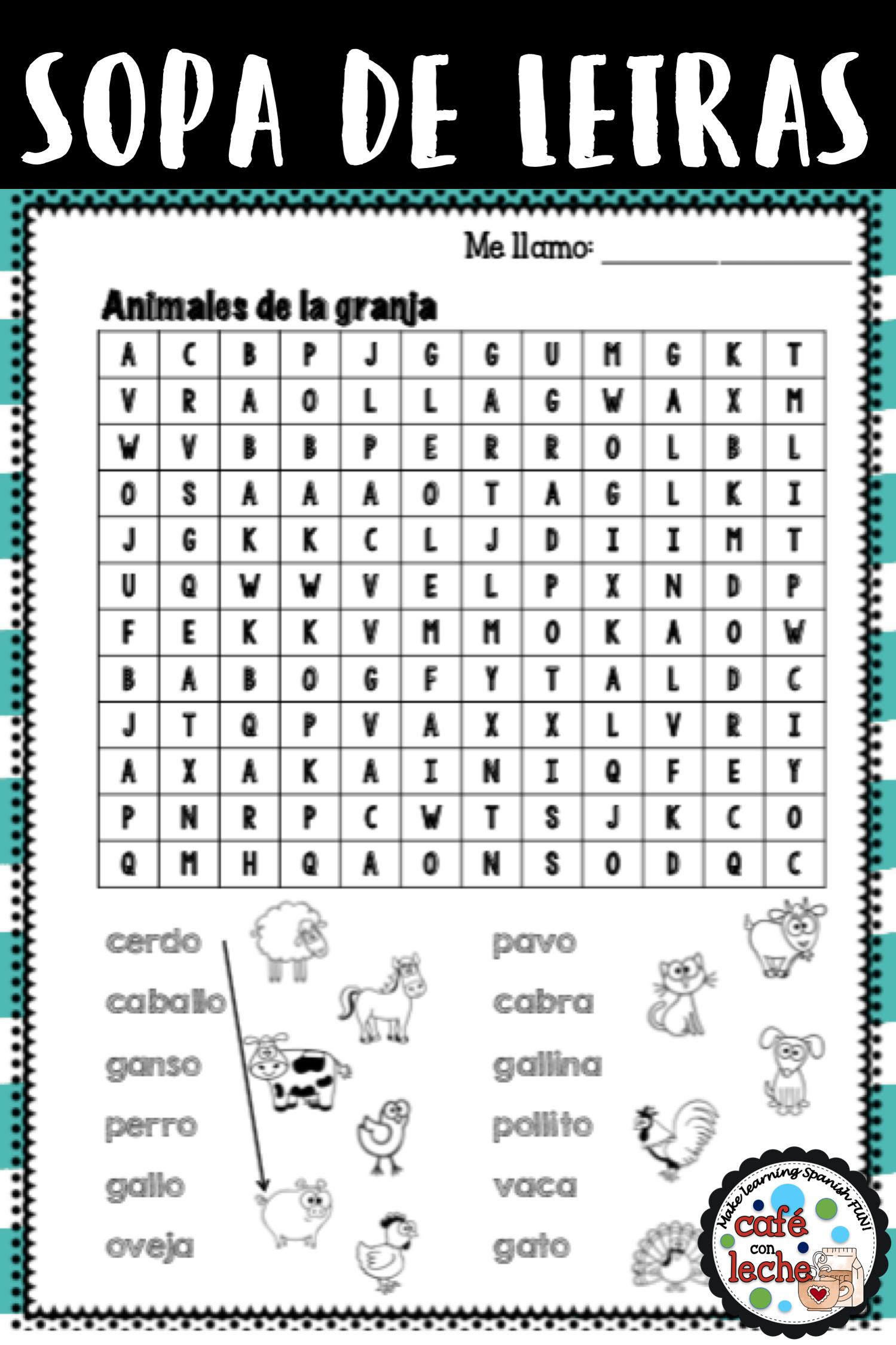 Sopa De Letras De Animales De La Granja Farm Animals