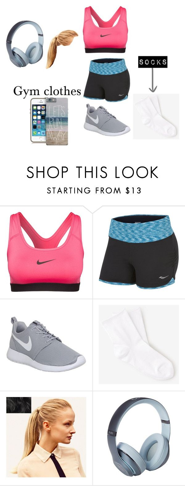 """""""Gym"""" by msa9742 ❤ liked on Polyvore featuring NIKE, Saucony, Bleuforêt, Hershesons and Beats by Dr. Dre"""