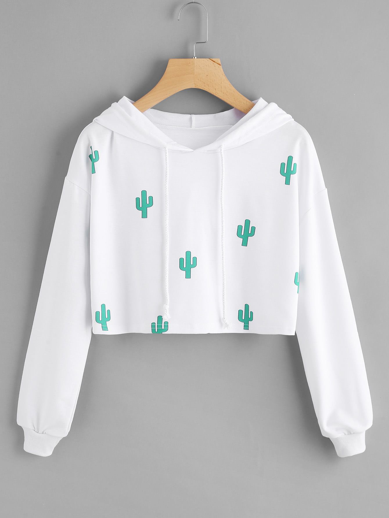 Sweat shirt à capuche imprimé des cactus French Romwe