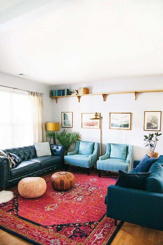 eclectic area rug design for living room | Living Room Makeover Reveal | Vintage | Bohemian living ...