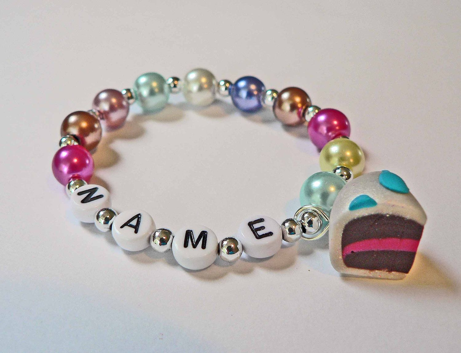 Birthday Cake Charm Bracelet Name Clay Party Favor For Baby Toddler Child And Kids