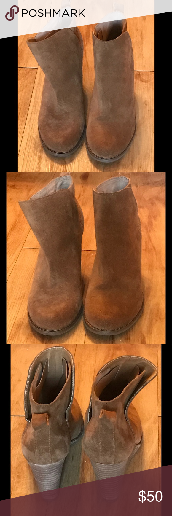 """Lucky Brand Wedge Booties (Honey) Lucky Brand Wedge Booties Step up your look with these comfortable stacked wedge booties designed in genuine suede with a western-inspired pull tab.  Material: Suede Heel Height: 3.25"""" Fit: True to Size Shoe Width: Medium Lucky Brand Shoes Ankle Boots & Booties"""