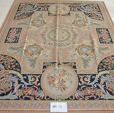 "12'5""x14'6"" Oversize Hand-woven Reproduction French Aubusson Flat Weave Blue Rug"