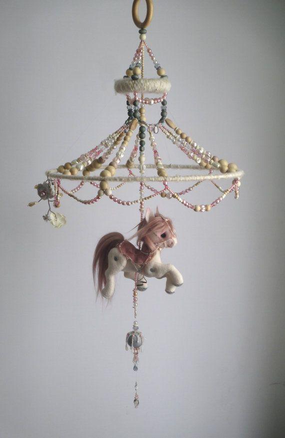 Baby Girl Mobile Parisian Carouselhorse Mobile By