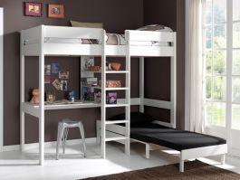 Lit Mezzanine 90x200 Cm En Pin Massif Avec Bureau Et Canape Lit En 2020 Lit Superpose Bureau Lit Mezzanine Enfant Lit Mezzanine