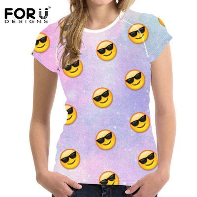 FORUDESIGNS Emoji Printed Women T Shirts 3D Smiley Face Emotion Lovely Funny Streetwear Casual-shirt Short Sleeve Teenage Girls