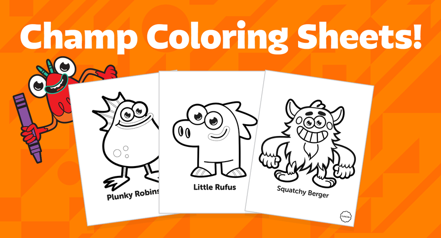 Champ coloring sheets are a great activity to bring