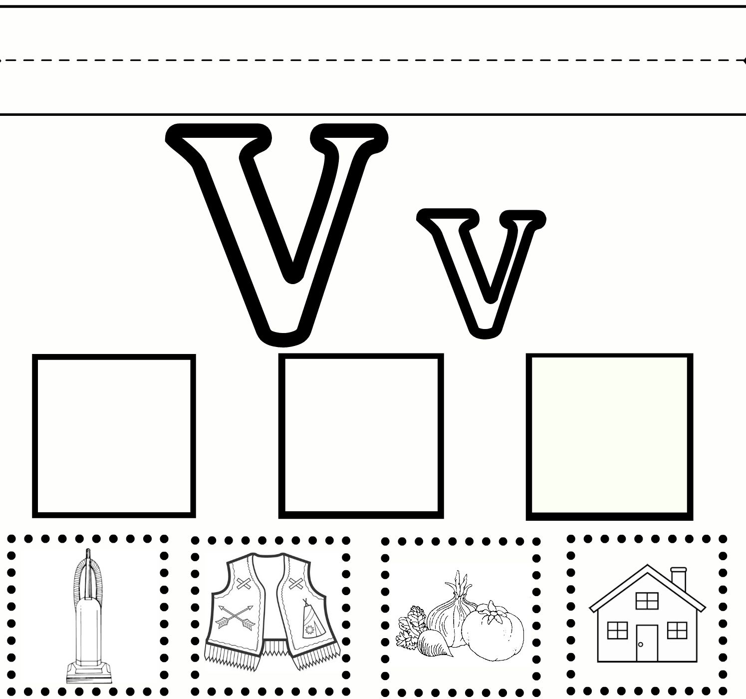 Letter V preschool learning worksheet with free printable