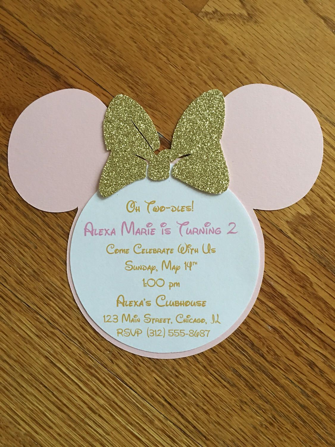 Oh Twodles Pink Gold Minnie Mouse Glitter Invitations 2nd 2 Year Old Birthday Baby