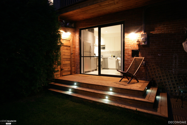 terrasse vue de nuit spots lumineux et clairages muraux lumire tamise - Spot De Terrasse