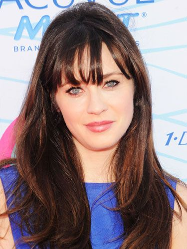 Zooey Deschanel- dark chocolate brown hair color for medium skin with warm  undertones 0f8e8d8da68