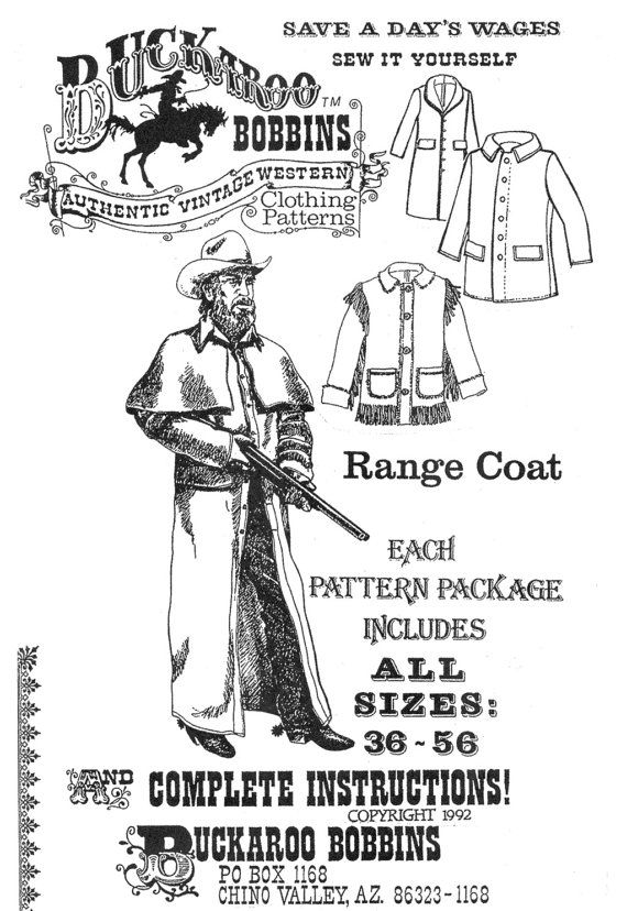 Buckaroo Bobbins Sewing Pattern Range Coat Pattern package includes ...