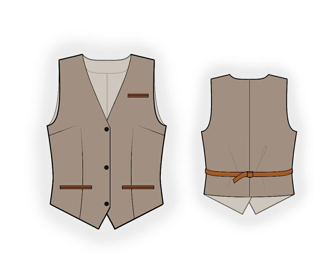 4b67f78946 Waistcoat - Sewing Pattern #5954 Made-to-measure sewing pattern from Lekala  with free online download.