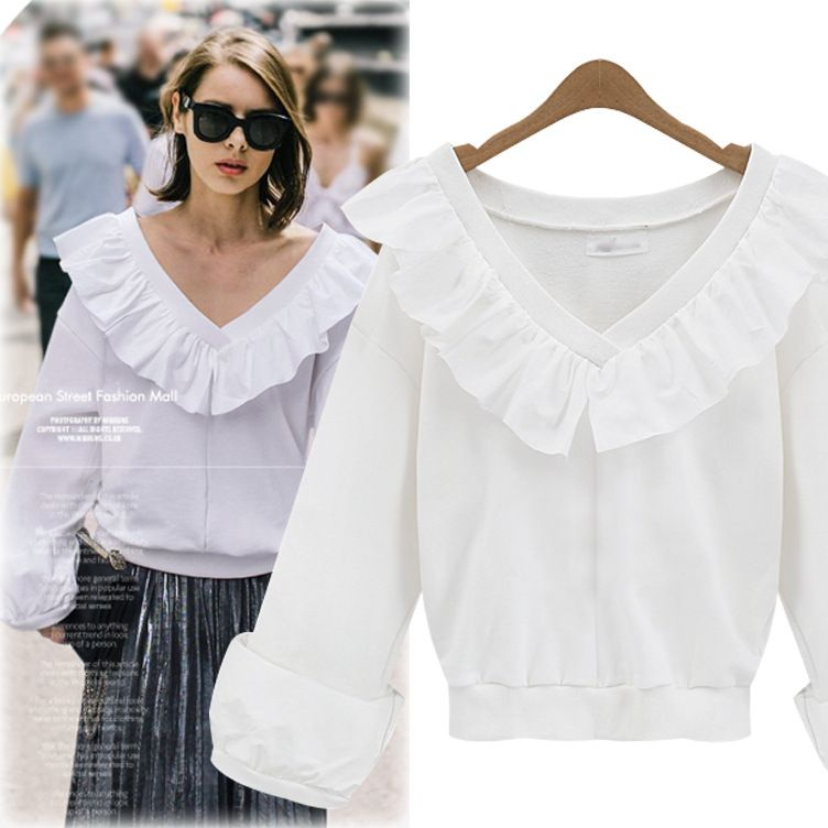 f994a55b26d SexeMara Hot Sale Plus Size Women Shirts Blouses 2XL 3XL 4XL 5XL Casual  Spring Tops Long Sleeve V-neck Ruffles Blouse