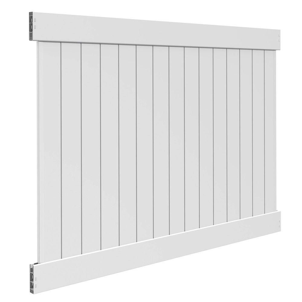Veranda Linden 6 ft. H x 8 ft. W White Vinyl Pro Privacy Fence Panel ...