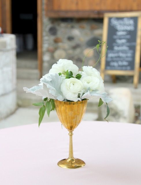 Vintage Brass Goblet Cocktail Table Floral Arrangement