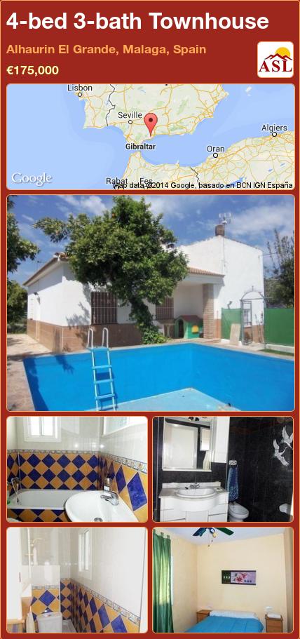 4-bed 3-bath Townhouse in Alhaurin El Grande, Malaga, Spain ►€175,000 #PropertyForSaleInSpain