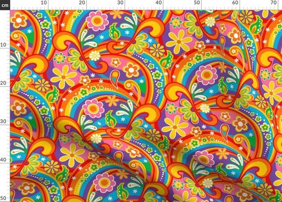 1960s Fabric - 60's Psychedelic Flower Power By Mia Valdez - Paisley Colorful Rainbow Daisy Peace Cotton Fabric By The Metre by Spoonflower