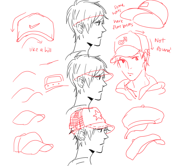 Character Design Tutorial Step By Step : Step by tutorial on how to draw a baseball cap for